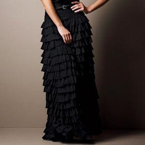 Large Max Studio maxi grey ruffled skirt